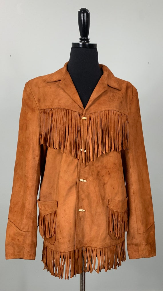 1970s Burnt Orange Suede Leather Fringe Jacket - … - image 2