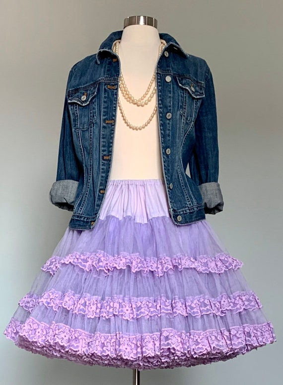 1950s Lavender Purple Lace Petticoat - Extra Full