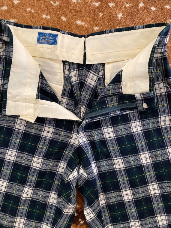 Pendleton Plaid Wool Pants for Men - Blue Green P… - image 2