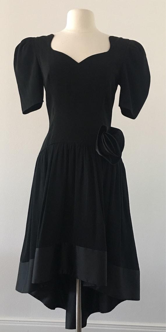 Little Black Dress by Morton Myles for the Warrens Saks Fifth Avenue High Low Hemline Party Dress Semi Formal Cocktail Vintage 80s 90s
