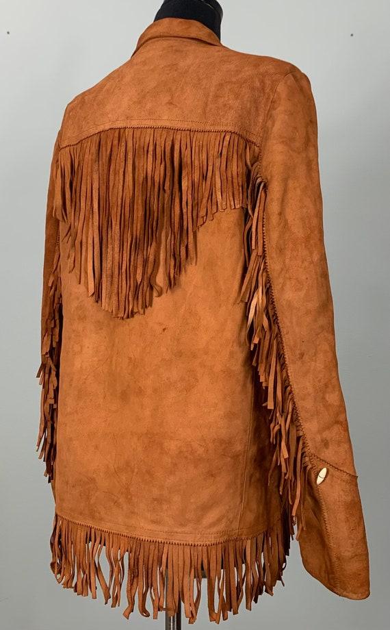 1970s Burnt Orange Suede Leather Fringe Jacket - … - image 8