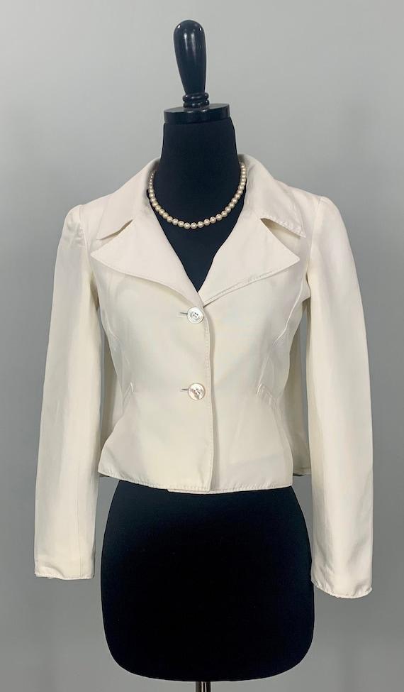 Valentino Ivory Silk Cropped Blazer - Cropped Beig