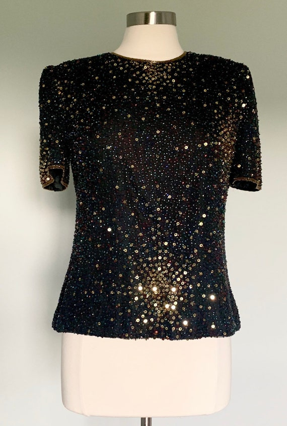 Vintage 1980/'s Blue and Purple Sequined Beaded Top  80/'s Formal Evening Blouse  Sequin Fashion  Date Night  Size Medium Laurence Kazar