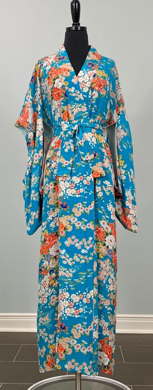 Kimono Shop Vintage Turquoise Blue Kimono Robe - J
