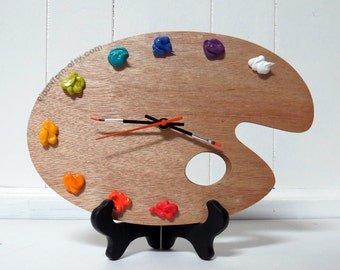 Artist Palette Clock 3D Paint On Wood