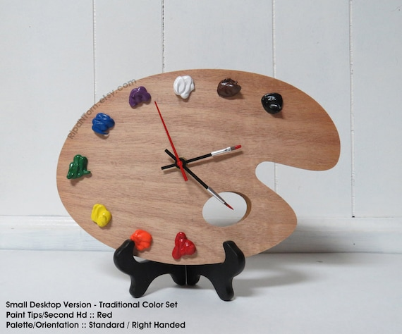 Artist Palette Clock 3D Paint On Wood TRADITIONAL Left Or