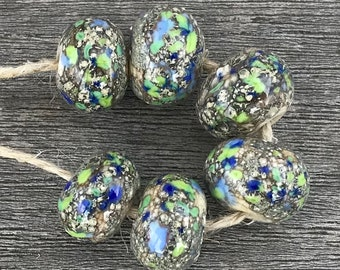 Silverreactions - 6 handmade lampwork beads (36)