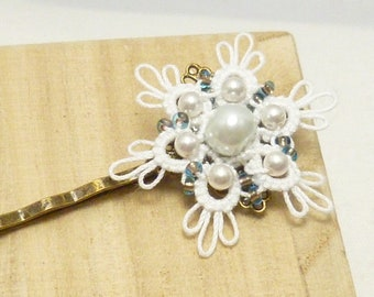 Tat Snowflake Bobby Hair Pin with Swarovski pearls -The Dainty white shuttle tatted flower with blue beads hair pin handmade lace