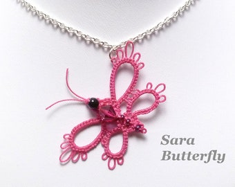 Tatting Lace Butterfly Pendant with glass beads - Sara MTO in your favorite color