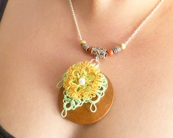 tatting Lace Statement pop up flower Pendant -Golden Spring Fleur floral designer jewelry