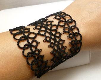 Tatting jewelry Black Lace Cuff Bracelet -Fearless Grace daring jewelry large black gothic jewelry costume lacework