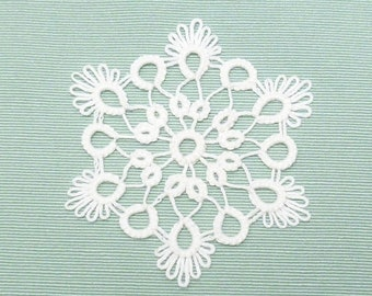 Tatted Lace Christmas Ornament Snowflake -Glow Flake handmade shuttle tatted snow for gift or home decoration