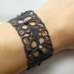 Tatted Lace Cuff in modern color choices with glass pearls -MOD handmade lace jewelry cuff for casual or formal wear durable heirloom gift
