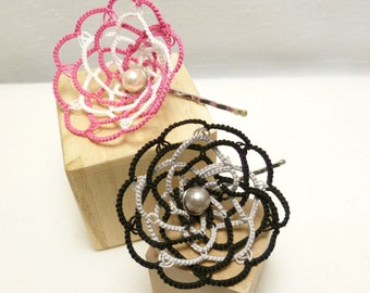 Shuttle Tatted Flower Bobby Pin -large Camelia 10-petal MTO new color choices hair accessory