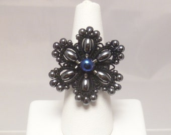 Tatted Cocktail Ring -Flair in black with hematite and Czech glass beading statement jewelry formal costume adjustable ring
