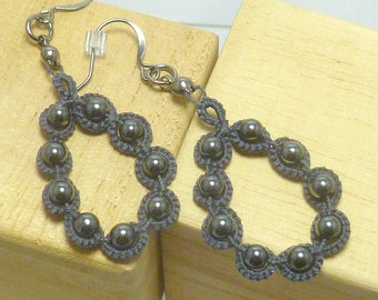 Earrings Lace dangles Tatting with beading -Hoops in charcoal grey with hematite beads modern lace jewelry