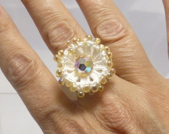 Tatted Cocktail Ring -Aster in white with golden glass beading and crystal statement jewelry formal costume adjustable ring