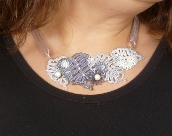 Tatting jewelry Lace -The Silver Leaf Gala with Swarovski crystals J Kohr Couture Statement Necklace flowers leaves one of a kind bib