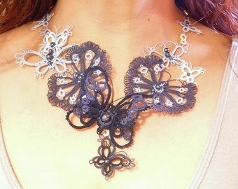 Tatted Lace Butterflies Statement Necklace -Flyaway Butterfly Gala -J Kohr Couture perfect one of a kind handmade wearable fiber art design