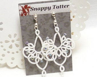 shuttle tat jewelry lace chandelier earrings with glass beads -Bella handmade earrings for formal or casual