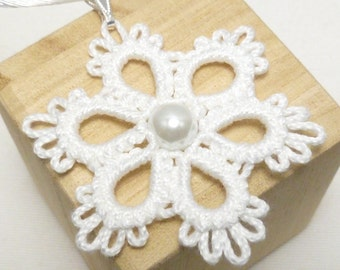 Tatted jewelry snowflake flower pendant Tatting - The Flair with a pearl handmade simple shuttle tatted flower in many colors