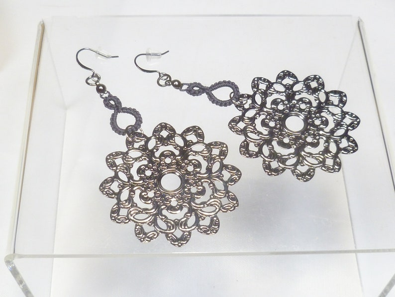 Shuttle Tatted dangling earrings-Drops in charcoal with large image 1
