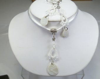 Tat jewelry set Lace Pendant and Earrings -Frilly Drips in white with shell accents handmade lace jewelry set satin necklace casual style