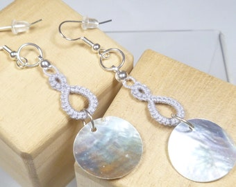 Shuttle Tatted dangling earrings with shells-Drops in silver modern lace with round shell dangles