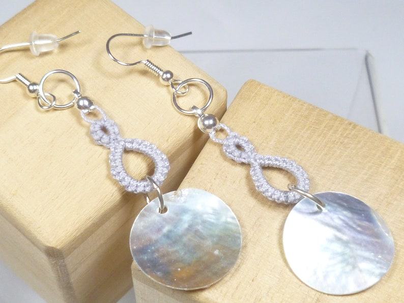 Shuttle Tatted dangling earrings with shells-Drops in silver image 0
