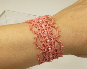 Tatted shell pink Lace Cuff Bracelet -Effervescence shuttle tatted lace handmade with beads for formal wear or every day gift