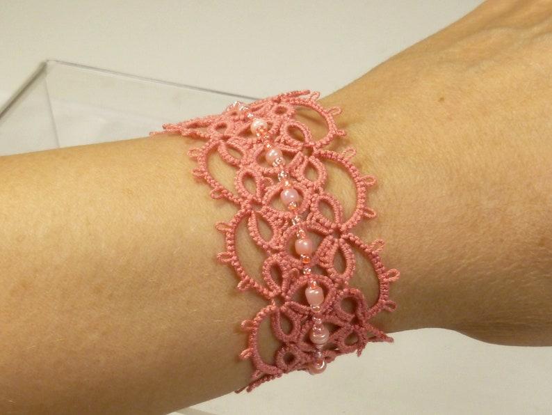 Tatted shell pink Lace Cuff Bracelet Effervescence shuttle image 0