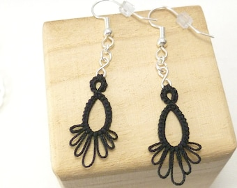 Tatting jewelry Earrings simple dangles -Frilly Drips MTO many colors available