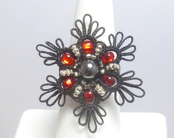 Tatted Cocktail Ring -Flair in black and red with glass beading and hematite statement jewelry formal costume adjustable ring