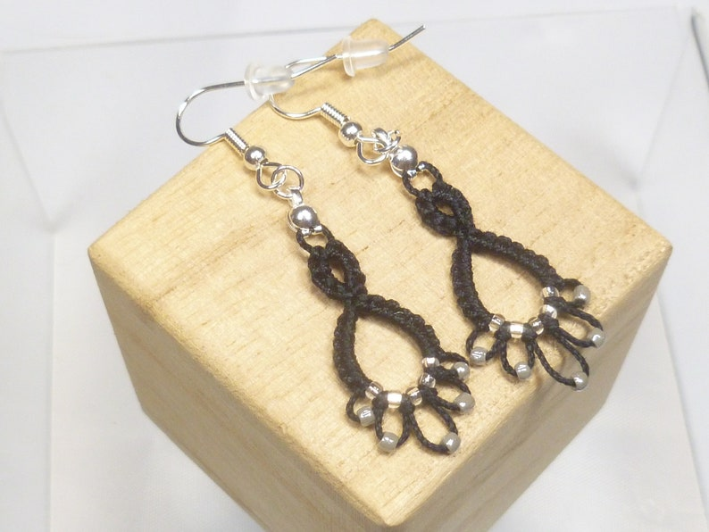 shuttle tatting Lace Earrings with glass beading Flash Drips image 1