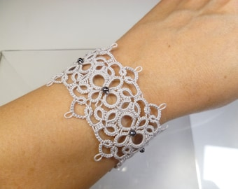 Tatted jewelry silver Lace Cuff Bracelet -Celestial shuttle tatted lace handmade with hematite beads for formal wear or every day gift