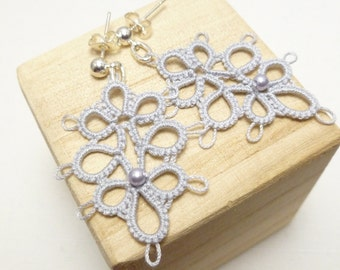 Lace Tatted Earrings with Swarovski crystal in silver -Decadence