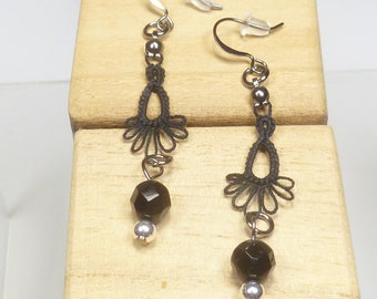Tatted jewelry Drip earrings - Frilly Drips in black with crystals and Sterling beads  long dangle earrings