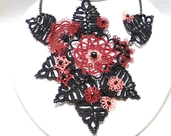 Statement Necklace Tatting Lace -Spanish Gala with Czech glass and crystals formal jewelry -J Kohr Couture large bib red black peach