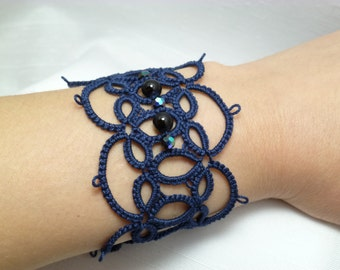 Tatting jewelry Lace Cuff Bracelet -Wide Effervescence Tatted Cuff in your color MTO