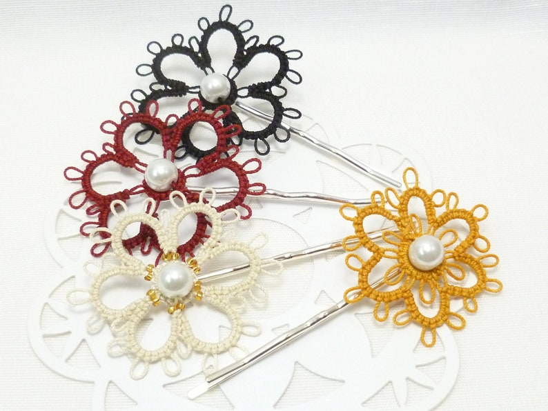 Tatted Sterling Daisy Bobby Pin in your color choice with image 1