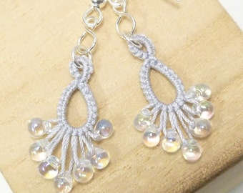 Tatting jewelry Lace Earrings in white -Flash Drips MTO for the bride dangles for formal or casual wedding