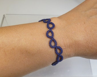 Tatted Lace jewelry simple Bracelet -Halo Wave in navy blue for casual wear simple style minimalist