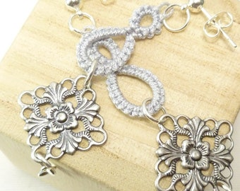 Shuttle Tatted dangling earrings with medallions -Drops in custom color MTO modern lace in neutral colors