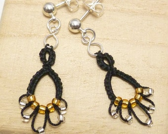 Dangling Earrings Black shuttle tatting handmade lace -Flash Drips with silver and gold beads MTO