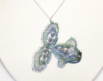 Tatting jewelry lace FISH Necklace -Bubbles the Fish J Kohr Couture tatted pendant blue beaded animal design one of a kind handmade lace