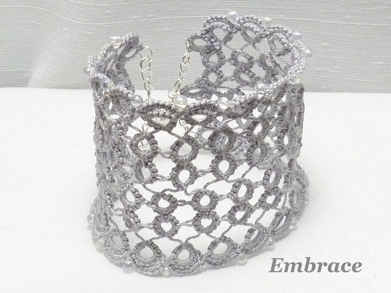 Tatting jewelry wide Lace Cuff with glass bead accents  image 0