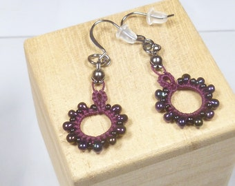 Tat Earrings Lace dangles -Loops Tatting in burgundy with purple beads for casual wear or unique gift