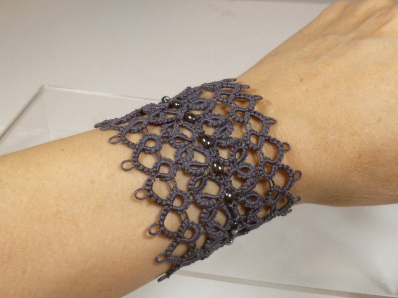 Tatting Cuff Bracelet in charcoal gray with Hematite image 0