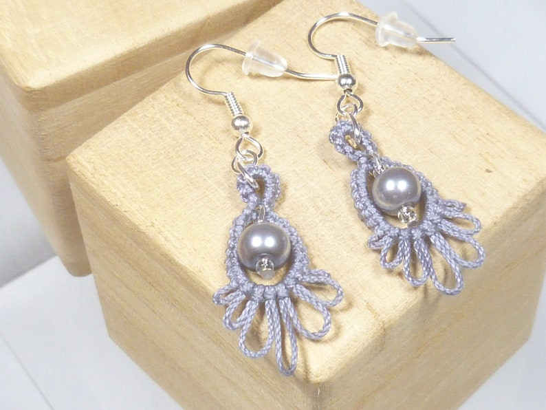Tatting earrings handmade with beads Frilly Drips in medium image 1