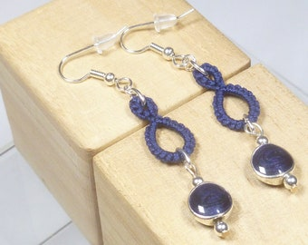 Shuttle Tatted dangling earrings-Drops in navy modern lace with round navy sparkling beads and sterling